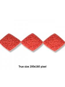 Cinnebar Bead Diamond 20x24mm Red