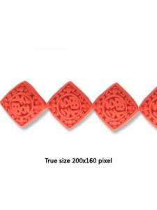 Cinnebar Bead Flat Square 20mm Red