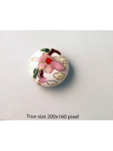 Cloisonne Bead Disc 24mm White