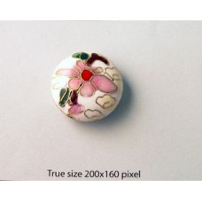 Cloisonne Bead Disc 24mm White