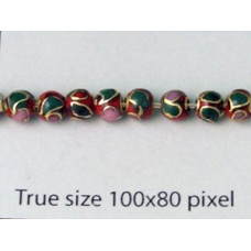 Cloisonne Bead Round Red 4mm