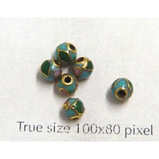 Cloisonne Bead Round Turquoise Blue 4mm