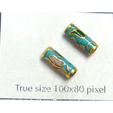 Cloisonne Tube 10x4mm Turqouoise