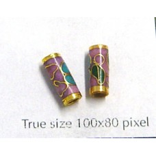 Cloisonne Tube 10x4mm Pink