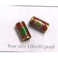 Cloisonne Tube 10x5mm Red