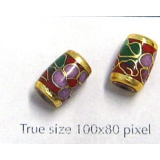 Cloisonne Tube 9x7mm Red