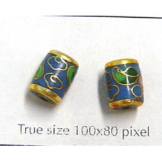 Cloisonne Tube 9x7mm Turquoise
