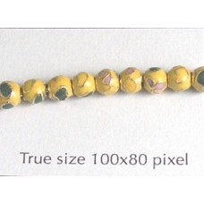 Cloisonne Bead Round 6mm Yellow