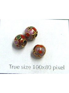 Cloisonne Bead Round 6mm Red