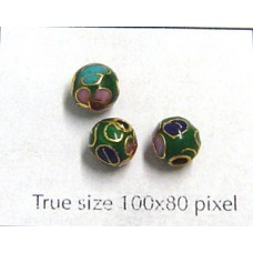 Cloisonne Bead Round 6mm Green