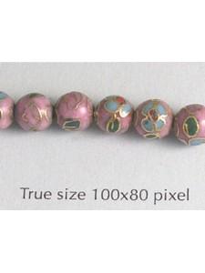 Cloisonne Bead Round 6mm Pink