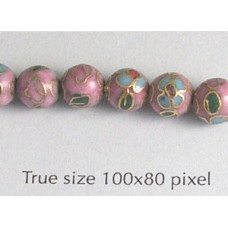 Cloisonne Bead Round 6mm Pink
