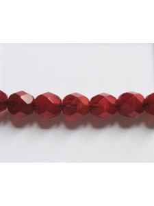 CZ Faceted Round Bead 6mm Dk opal Red