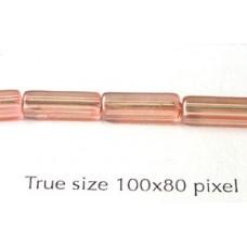 CZ Tube 10x4mm Rose Pink Dk-dyed