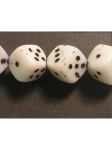 CZ Die Bead 8mm White Black Dots