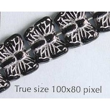Czech Butterfly Bead Black with Silver