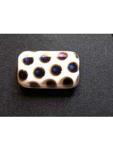 Flat Rectangle 19x12mm White w/blue dots