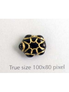 CZ Turtle 9x13mm Black w/Gold inlay