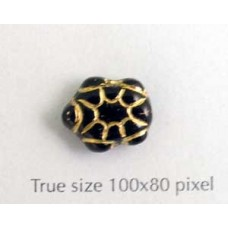 CZ Turtle 9x13mm Black w/Gold inlay
