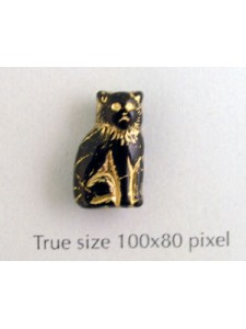CZ Cat Sitting 15mm Black w/Gold inlay