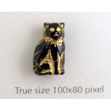 CZ Cat Sitting 15mm Black w/Gold inlay