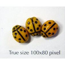 CZ Ladybug 7x10mm Lt Orange/Black Inlay