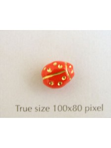 CZ Ladybug 10x7mm Med Red w/Gold Inlay