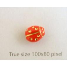 CZ Ladybug 10x7mm Med Red w/Gold Inlay
