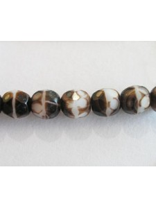 CZ Faceted 6mm White Brown 2 tone