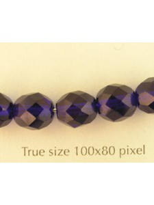 CZ Round Faceted 8mm Dk Sapphire