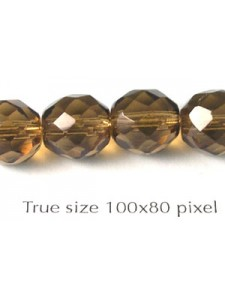 Cz Round Faceted 10mm Med. Smoke Topaz