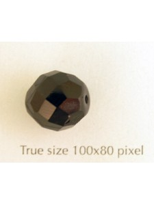 CZ Round Faceted Bead 12mm Jet