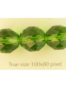 CZ Round Faceted 12mm Bead Light Green