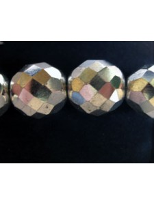 CZ Faceted Rd 12mm Bead All Silver coat