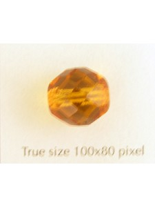 CZ Round Faceted Bead Topaz