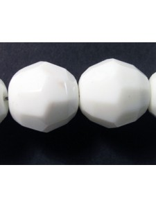 CZ Round Faceted 14mm White Opaque