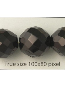 Czech Faceted Round Bead 16mm Jet