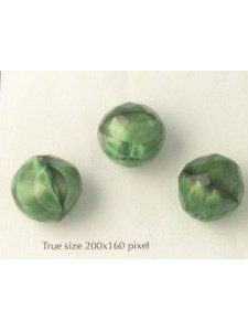 Czech Faceted Bead 18mm Green with black