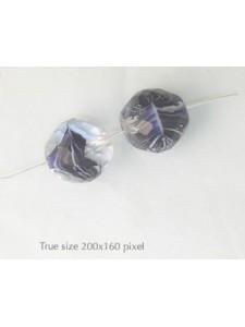 Czech Round Bead 18mm Cobald Swirl Clear