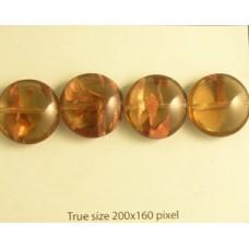 Czech Coin bead 18mm Smoked Topaz