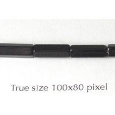 CZ Satina Bead 4x10mm Black
