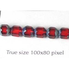 CZ Tube 6mm Ruby with Stone effect