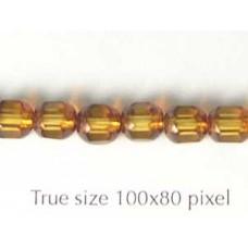 CZ Tube 6mm Topaz with Stone effect