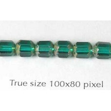 CZ Tube 6mm Green with Stone effect