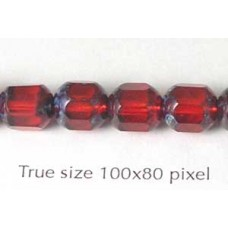 CZ Tube 7x8mm Ruby with Stone effect
