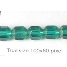 CZ Tube 7x8mm Emerald with Stone effect