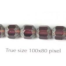 CZ Tube 7x8mm Amethyst with Stone effect