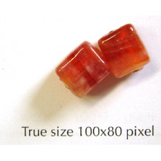 Indian Bead Cube 7mm Red/White