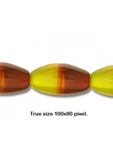 Bead Oval Two-tone 18x11mm Rd/Yellw