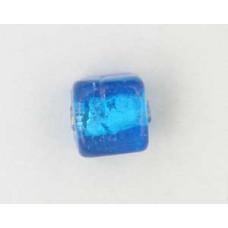 Indian Cube 10mm Silver Foiled Capri Blu